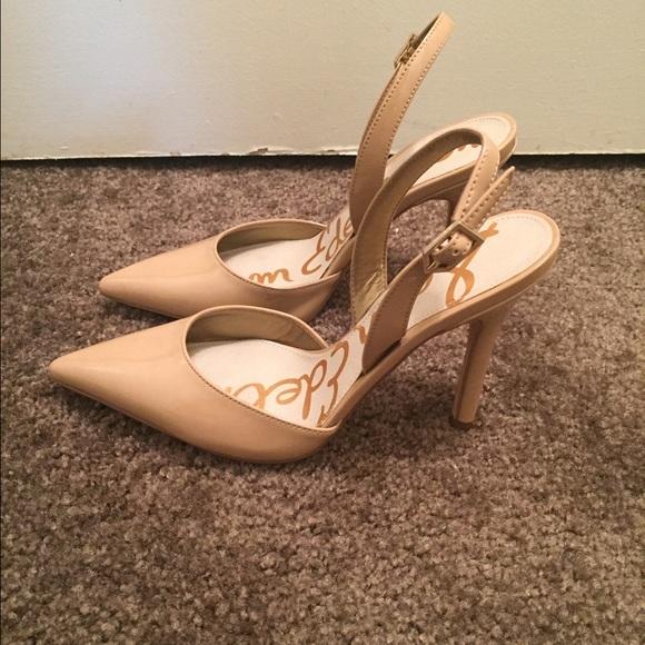 317ddcb3eff2c3 Sam Edelman Dora Nude Patent Slingback Heels. M 5831b819f0928210160a545a