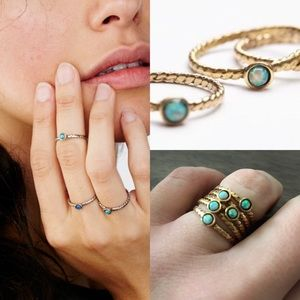 Free People Jewelry - NWT free people before sunrise opal stacking rings