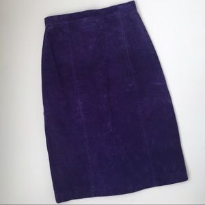 BAGATELLE suede royal purple knee length skirt SM