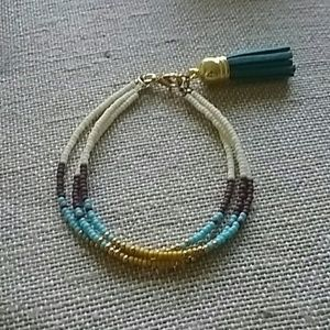 3 Strand Seed Bead Bracelet w/ Tassel