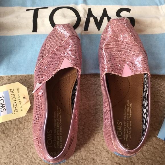 Women s Toms pink glitter shoes 5.5 size 2a996870b1