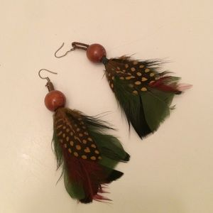 Gorgeous multi-colored feather earrings