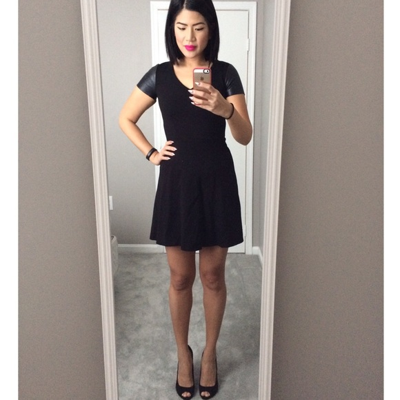 Ann Taylor Dresses Black Dress With Faux Leather Sleeves Poshmark