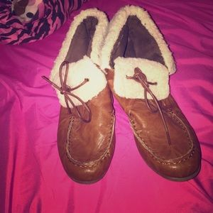 Furry leather booties size 10