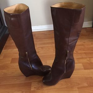 Nine West wedge leather boots Size 9.5