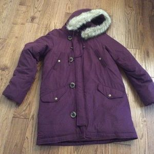 J. Crew Jackets & Blazers - J.crew puffer purple toggle coat fur hood small