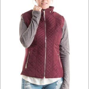Fashionomics Jackets & Blazers - Burgundy Quilted Funnel Neck Vest