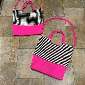 Victoria's Secret Striped Tote Bags Hot Pink