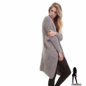 Tea n Cup Sweaters - Rose Faux Fur Cardigan