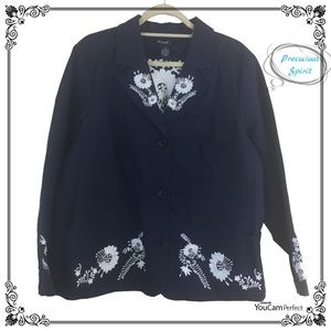 Denim & Co blue jean jacket w/ floral Embroidery