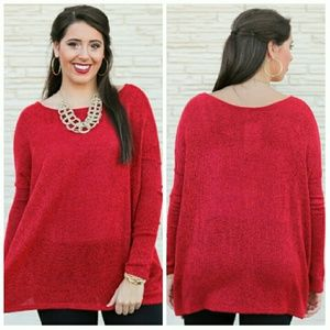 Madison Sweaters - ⬇Red Piko Sweater Top