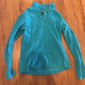 Teal Fleece zip upNorth Face
