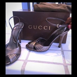 Gucci Pewter High Heel Sandals