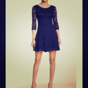 NWT Lush 3/4 Length Sleeve Lace skater Dress 