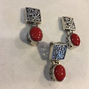 Tx boutique Sterling & red stone pendant &earrings