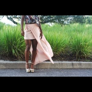 Forever 21 maxi skirt, splits and sheer overlay.