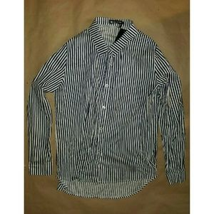 NWT Allegra K Navy & White striped Button Down XL