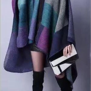 Cozy colorblock ruana, New, chic, dress up or down