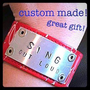 Jewelry - Custom made Cuff bracelet red leather