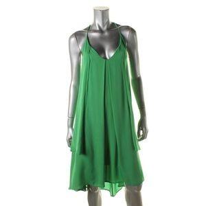 Rebecca Minkoff Green Silk Hi-Low Cocktail Dress S