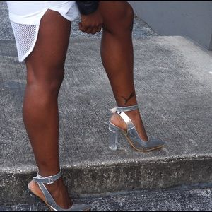 Shoes - Madora Lucite Metallic Heels