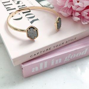 "Erica Rose Jewelry - ""Corinne"" Bracelet    Gray & Gold Druzy Cuff"