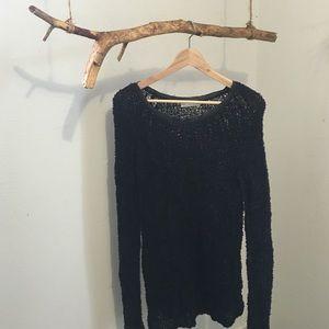 Hinge Sweaters - Hinge Faux Leather Trim Nylon Sweater