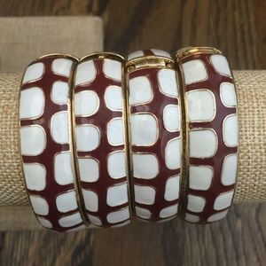 Burgundy and white enamel bracelets