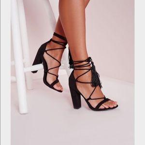 Black lace up tassel block sandal