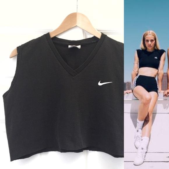 Vintage Nike Crop Top Size Medium Black V Neck Cropped Top 90s