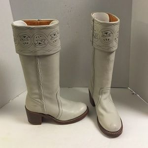 Frye ivory tall western boot with stacked heel