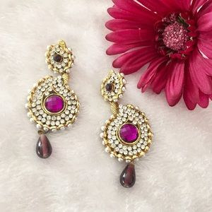  Gold and Purple post earrings