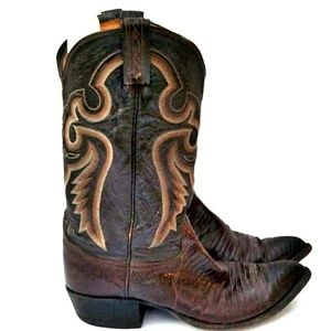 Tony Lama Shoes - VTG Tony Lama Black & Brown Leather/Lizard Boots