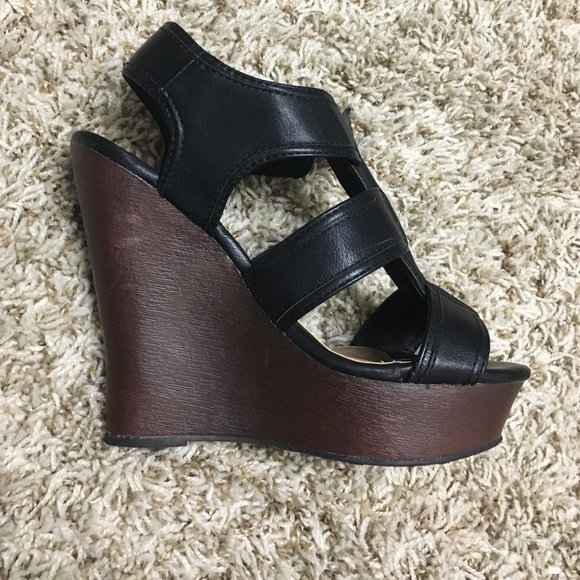 Shoes - Black and Brown Wedges