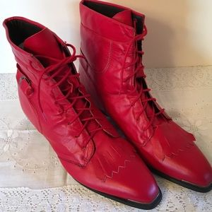 Durango Shoes - Durango Lace up leather red boots size 7 1/2 by
