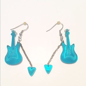 Jewelry - 👂🏼Mirrored Turquoise Guitar Earrings🎸