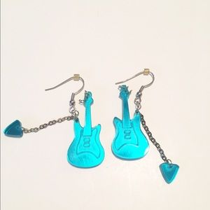 Jewelry - 🎸👂🏼Mirrored Turquoise Guitar Earrings🎸