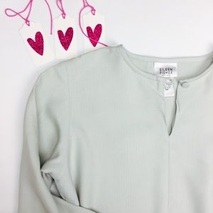Eileen Fisher Baby Teal Silk Blouse