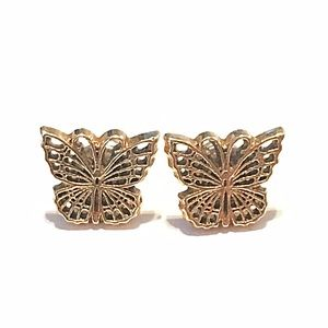 🌎👂🏼Gold Tone Carved Butterfly Post Earrings