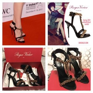 9595588cfc51 Roger Vivier Shoes -  2500 RARE Roger Vivier Caviar Black Gold Heel