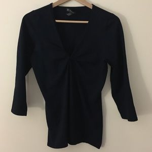 INC International Concepts Tops - INC L silk spandex vneck twist fitted navy top
