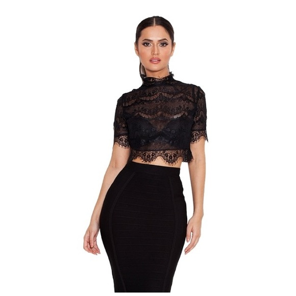 7f9e0b983d9 house of CB Tops - House of CB Saige Black High Neck Cropped Top XS