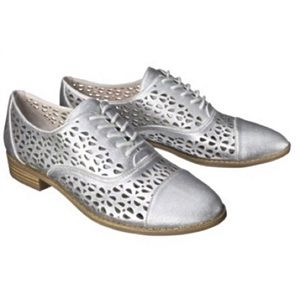 Sam & Libby Shoes - Distressed Silver Laser Cut Out Oxfords 7.5
