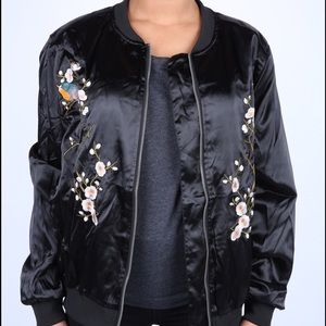 Women's Embroidered Satin Bomber Jacket