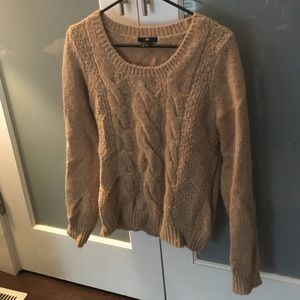 Thick tan cable knit sweater