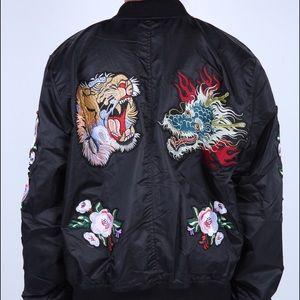 Women's Oversized Embroidered Bomber Jacket