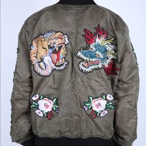 17d81047be Jackets   Blazers - Women s Oversized Embroidered Bomber Jacket
