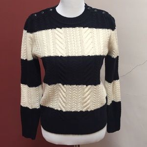 J. Crew Perfect cable sweater in navy stripes NWT