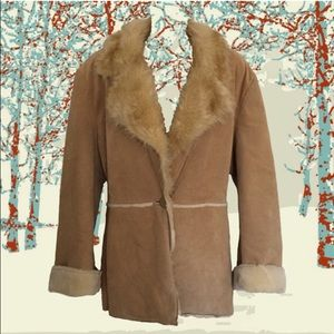 shearling jacket - suede & faux fur