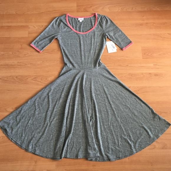 NWT Lularoe Ana Long Dress SOLID Heathered Gray Pinkish Red Trim FREE SHIPPING!!